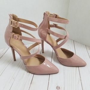 Charlotte Russe cross strap pointed toe pumps